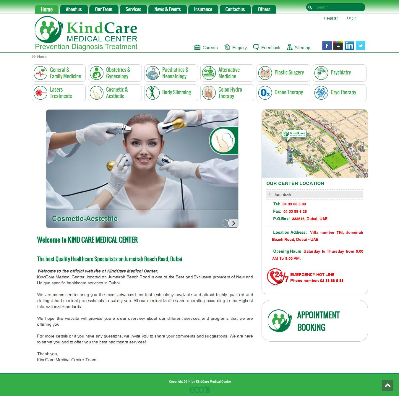 تصویری از صفحه نخست وبسایت پلی کلینیک تخصصی Kind Care Medical Center دوبی