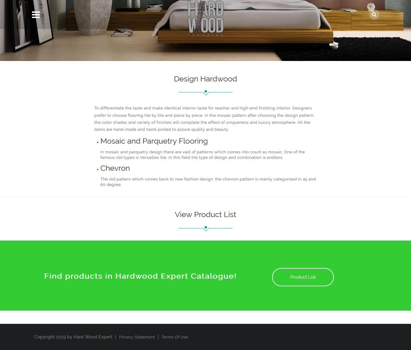 تصویری از صفحه معرفی انواع محصولات شرکت Hard WoodEx امریکا