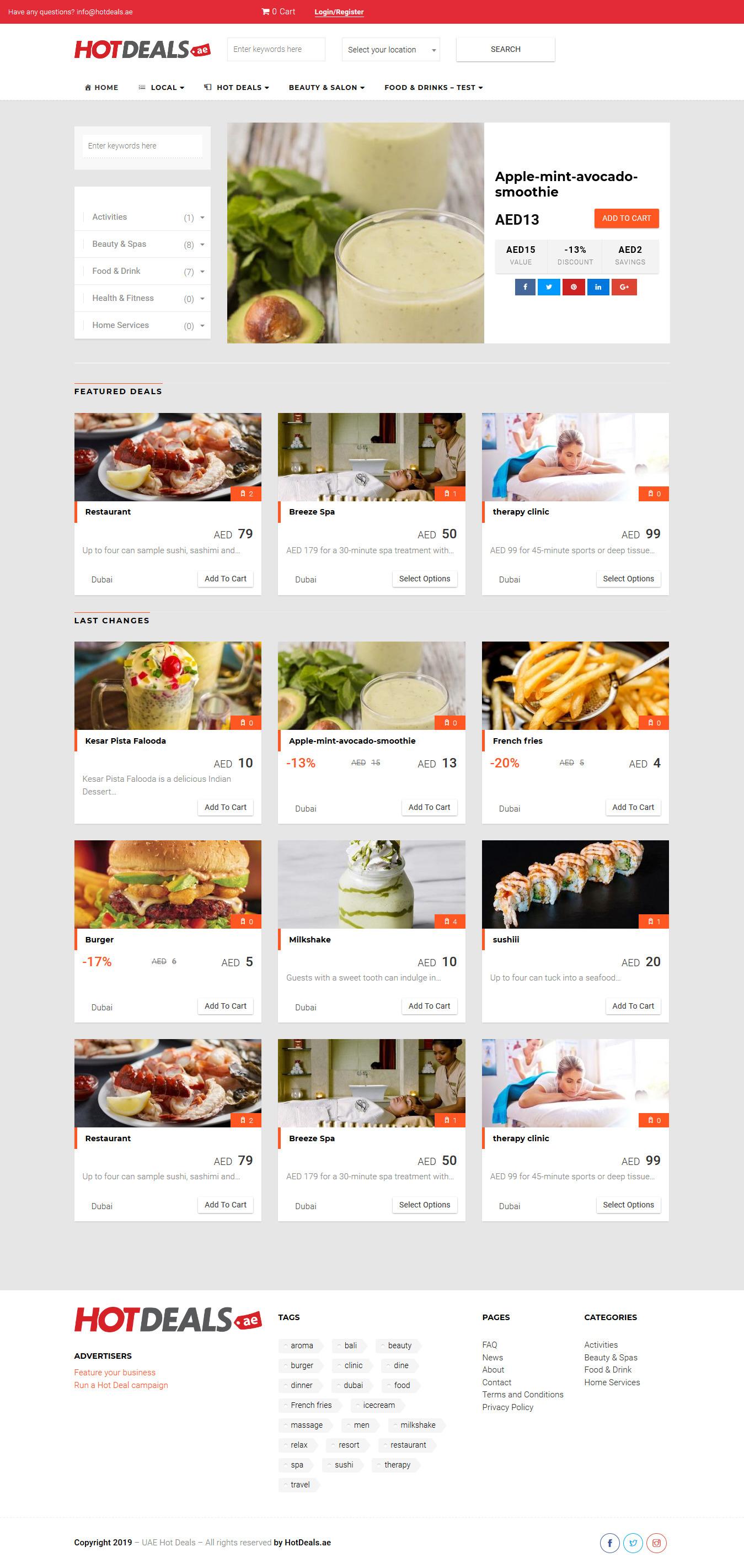 تصویری از صفحه نخست وبسایت سایت معاملات داغ UAE Hot Deals امارات