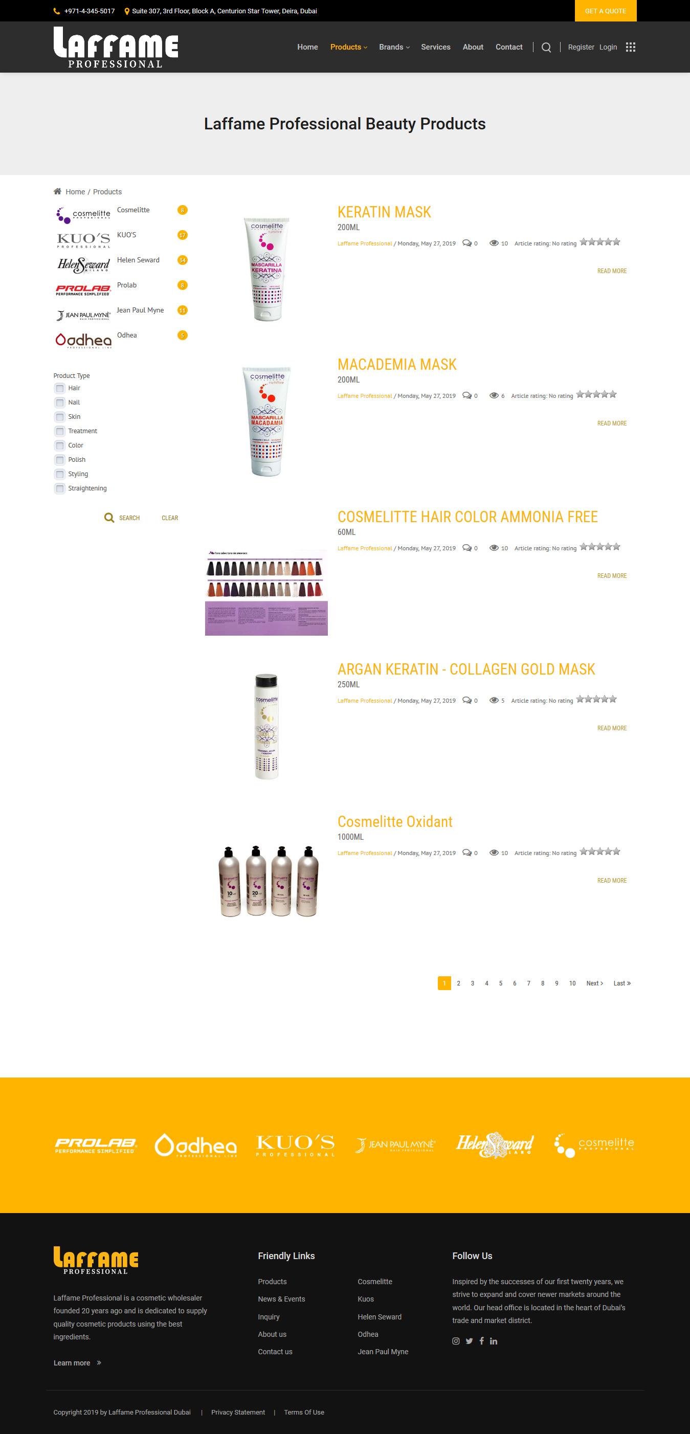 تصویری از صفحه فهرست محصولات Laffame Professional دوبی