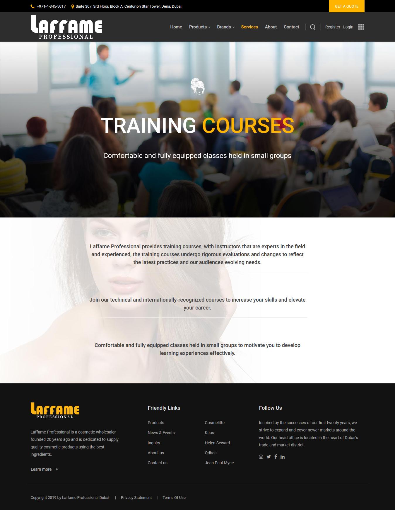 تصویری از صفحه خدمات Laffame Professional دوبی
