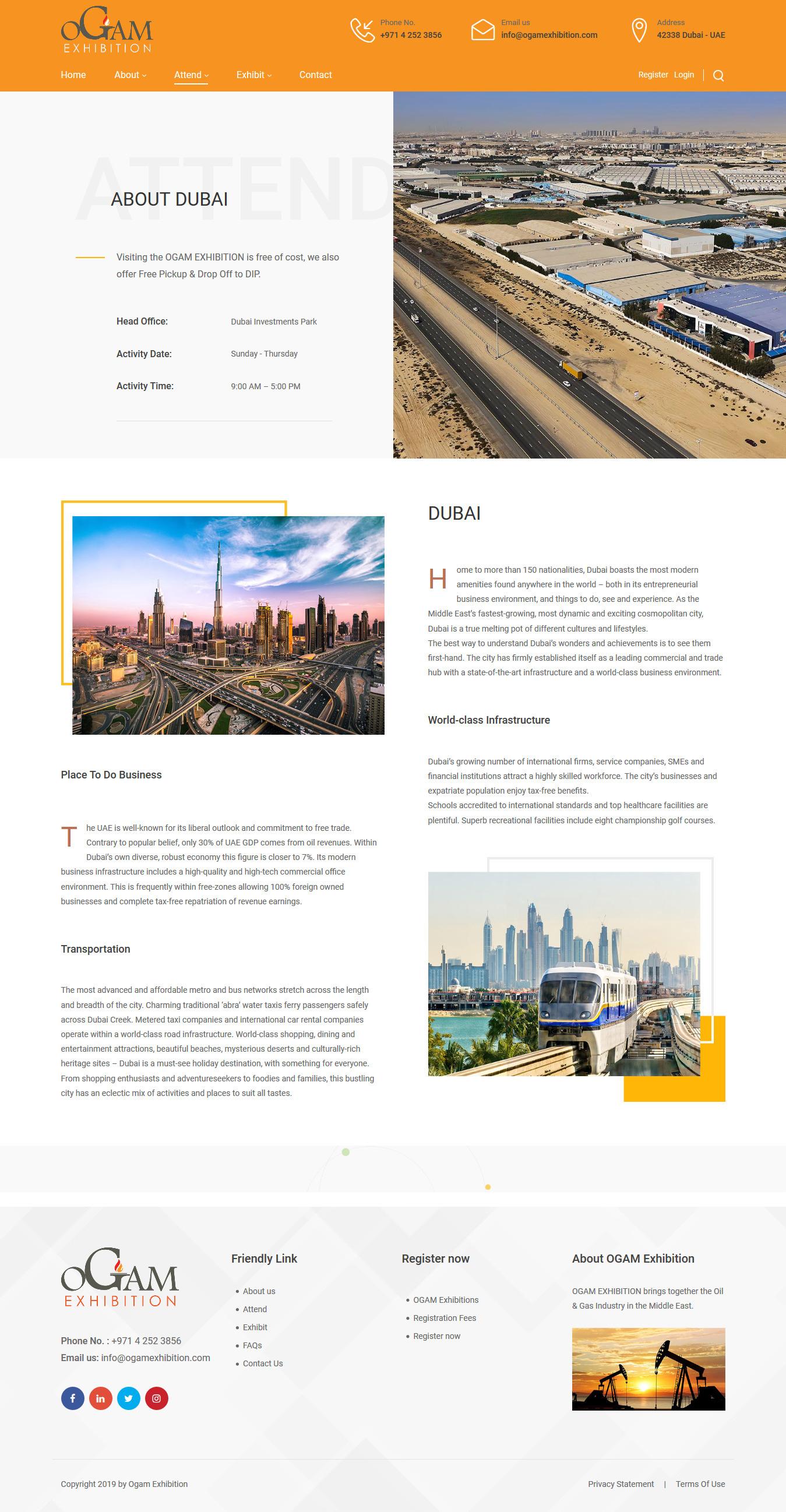 تصویری از صفحه معرفی جاذبههای تجاری و تفریحی دوبی