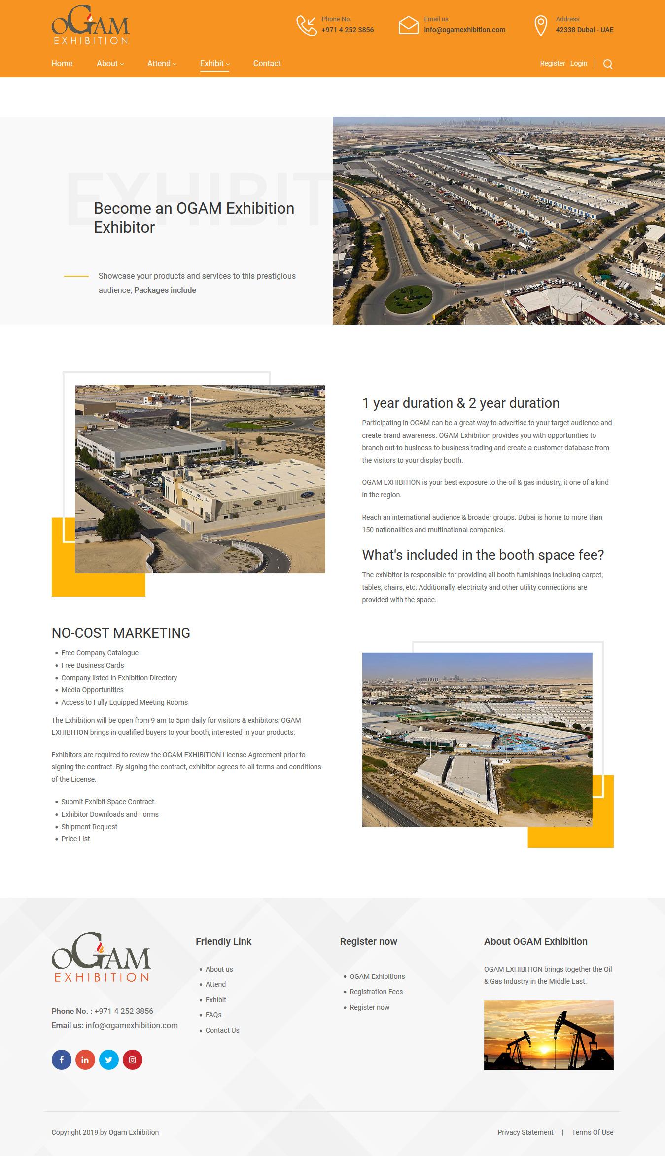 تصویری از صفحه معرفی مناطق صنعتی دوبی و نمایشگاه