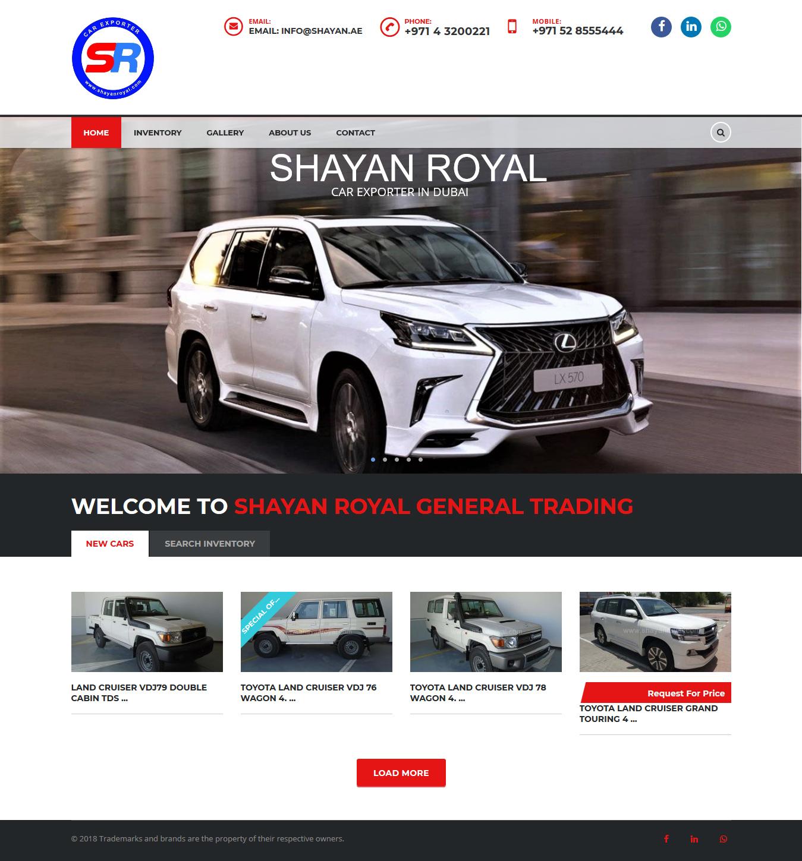 تصویری از صفحه نخست وبسایت شرکت تجارت عام شایان رویال دوبی