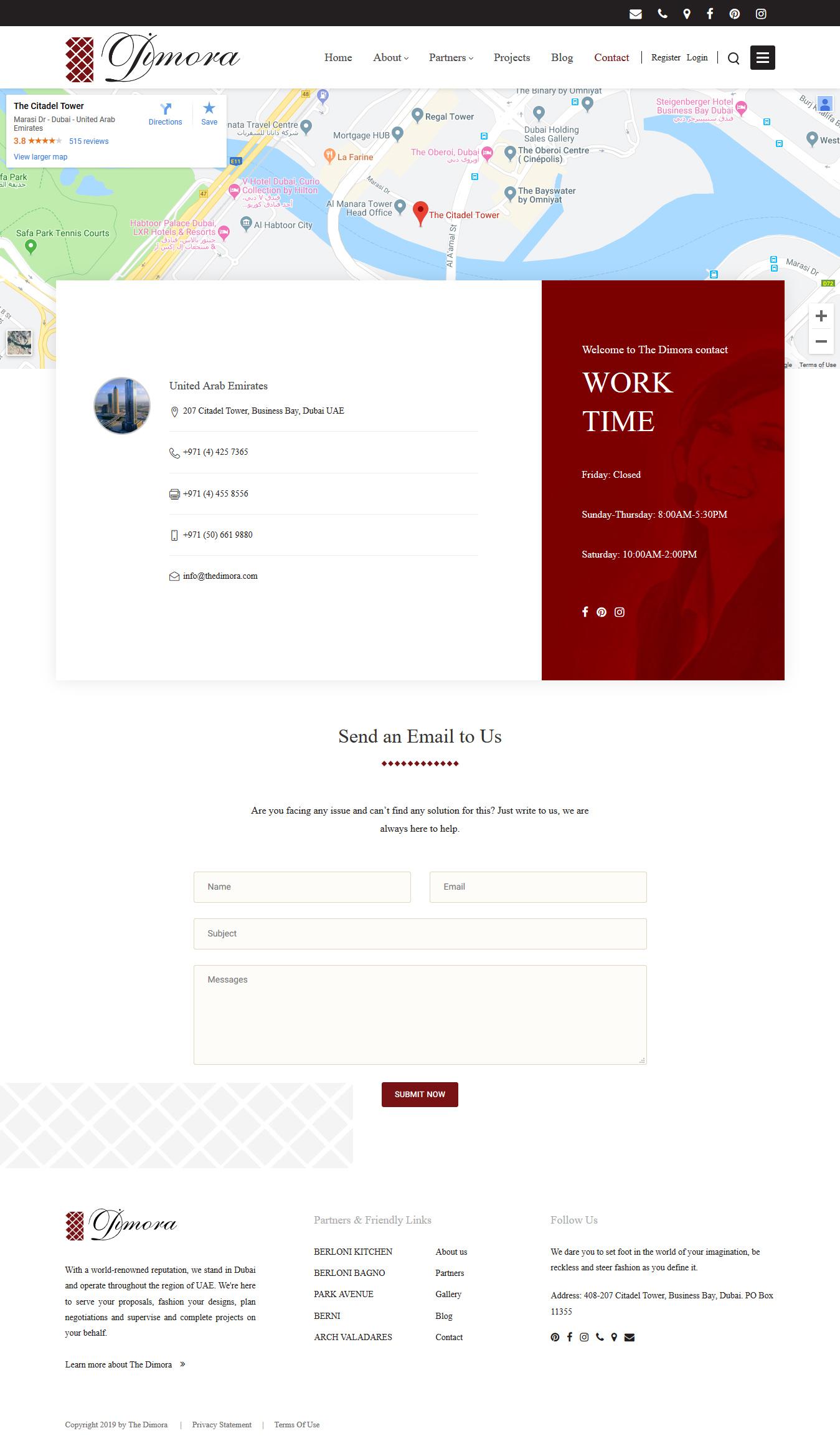 تصویری از صفحه تماس با شرکت معماری و طراحی داخلی The Dimora دوبی