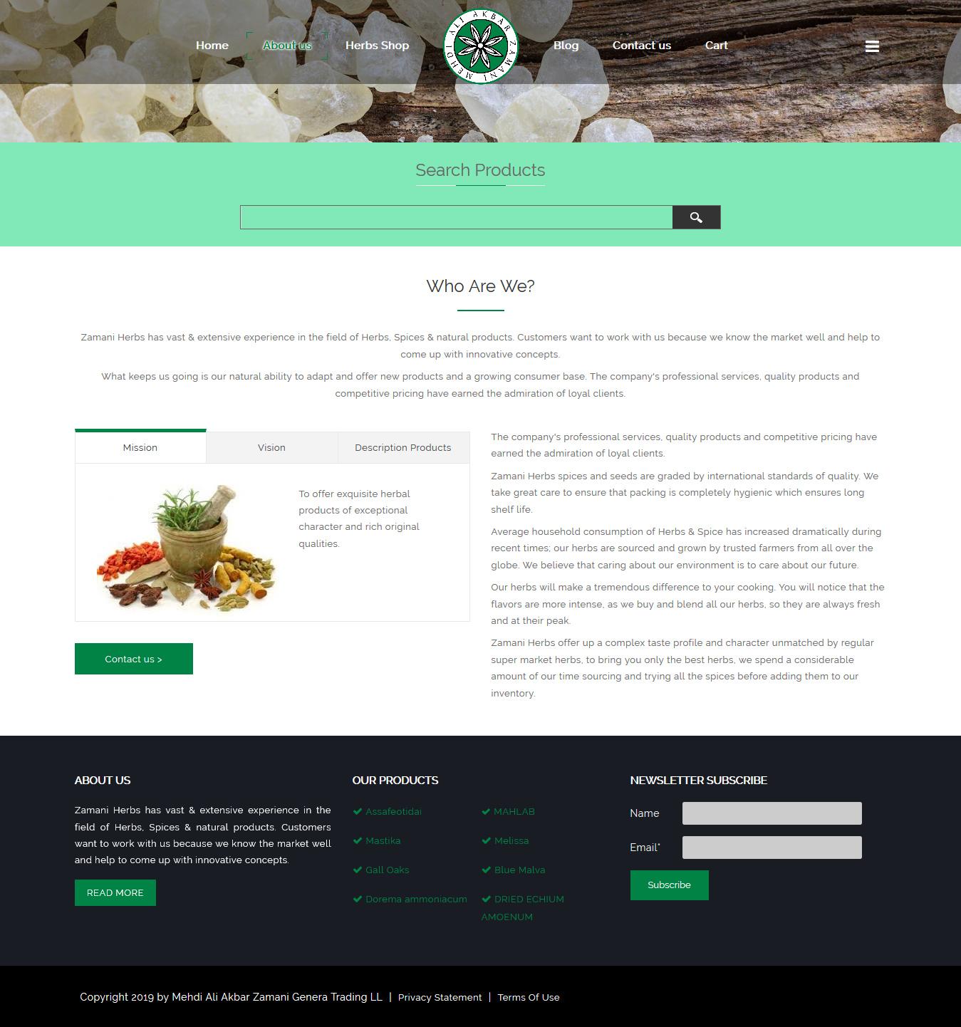 تصویری از صفحه درباره فروشگاه داروهای گیاهی زمانی دوبی