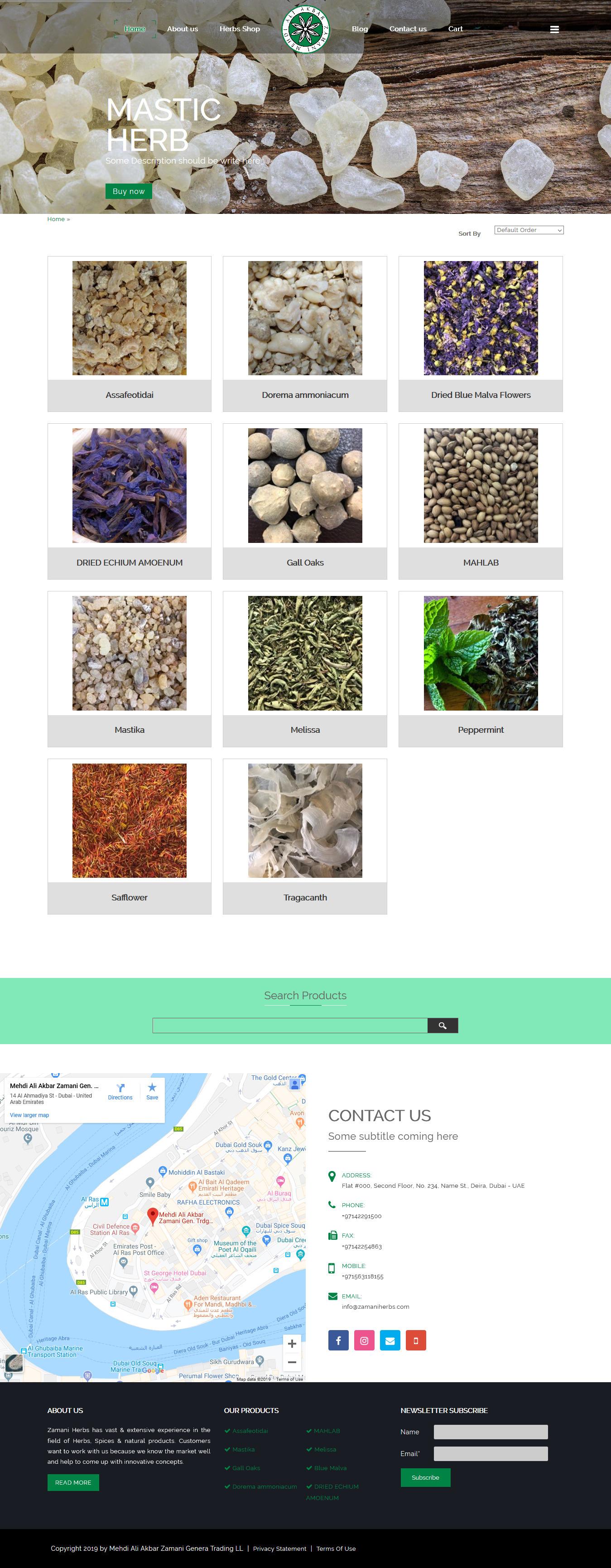 تصویری از صفحه نخست وبسایت فروشگاه داروهای گیاهی زمانی دوبی