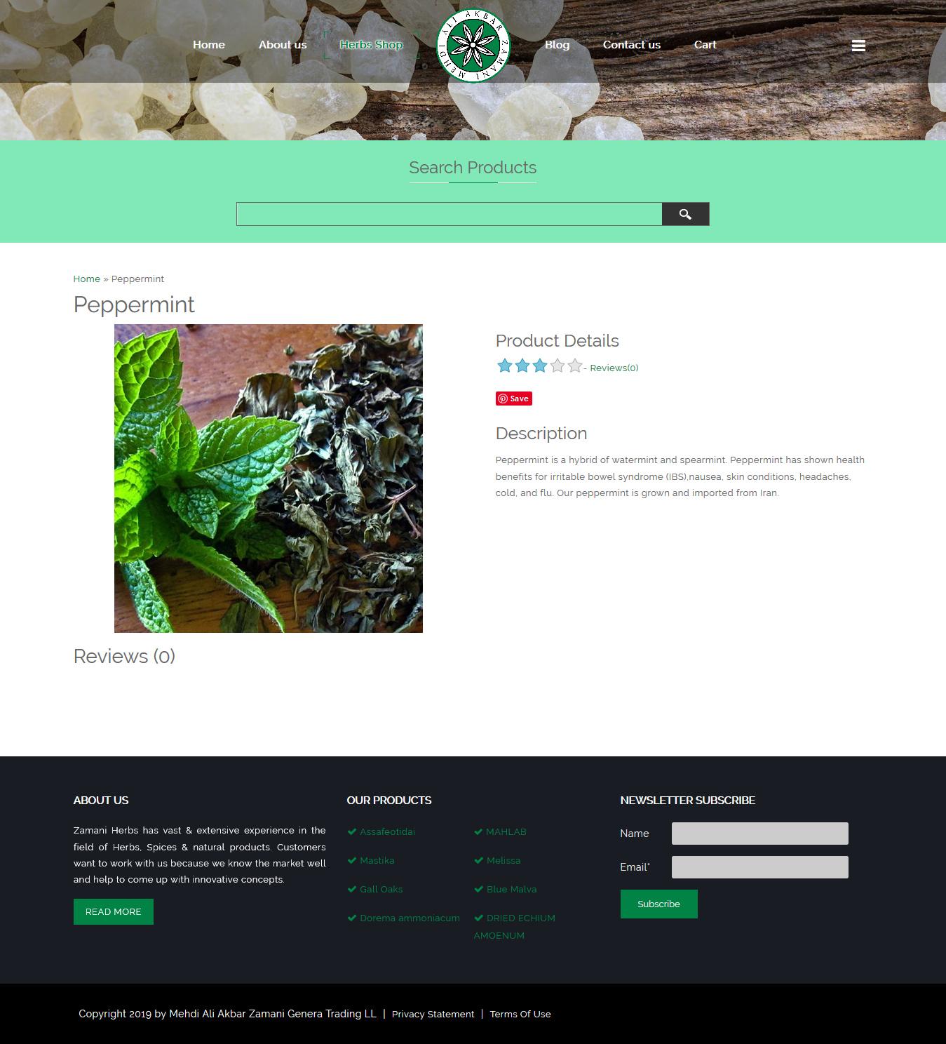 تصویری از صفحه جزٍیات و شرح محصول فروشگاه داروهای گیاهی زمانی دوبی